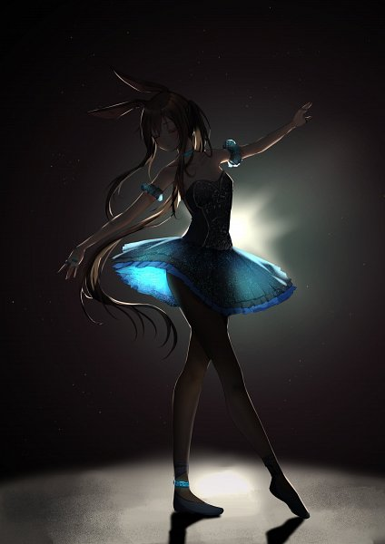Tags: Anime, KU-INI, Arknights, Amiya, Dark Colors, Ballerina Outfit, Ballet Shoes, Ballet, Spotlight, Fanart From Pixiv, Fanart, Pixiv