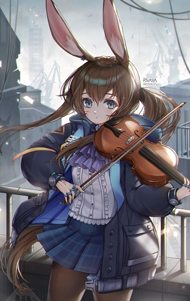 Tags: Anime, Pixiv Id 8211190, Arknights, Amiya, Playing Violin, Fanart From Pixiv, Pixiv, Fanart