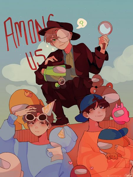 Tags: Anime, Cosmicruu, Among Us, Among Us (Character), Party Hat, Magnifying Glass, Party, Space Suit, Pixiv, Fanart From Pixiv, Fanart