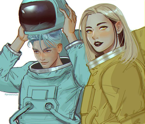 Tags: Anime, Mstrmagnolia, Among Us, Among Us (Character), Space Suit, Helmet Off, Black Lips, Twitter
