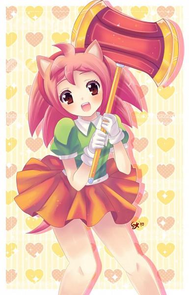 Tags: Anime, Mikuhoshi, Sonic the Fighters, Sonic the Hedgehog, Amy Rose, Orange Skirt, Mobile Wallpaper, deviantART, Fanart From DeviantART, Fanart