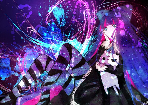 Tags: Anime, mirimo, Panty and Stocking With Garterbelt, Honekoneko, Anarchy Stocking, Abstract Background, Fanart From Pixiv, Pixiv, PNG Conversion, Fanart