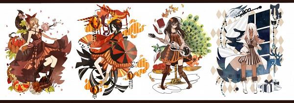 Tags: Anime, Anbivarens, Reindeer, Peacock, Electric Guitar, Brown Dress, Four Seasons, Twitter Header, Pixiv, Original