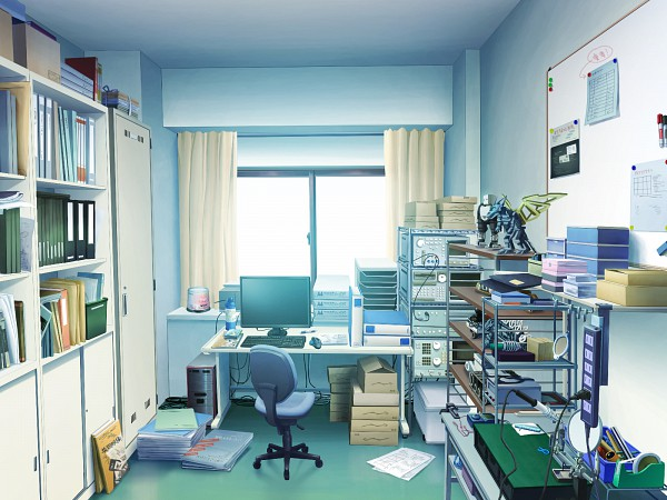 Tags: Anime, Alcot Honey Comb, Aneiro, Tape, Board, Action Figure, Office, Shelf, CD (Object), Plug, Messy Room, Stack Of Books, Merchandise