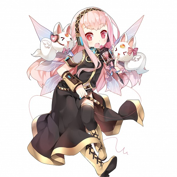 Tags: Anime, Saru Long, CyberAgent, Uchi no Hime-sama ga Ichiban Kawaii, Ange Miyufi, Single Sleeve, Side Slit, Megurine Luka (Cosplay), >O<, Yellow Footwear, Detached Wings, Official Art, PNG Conversion