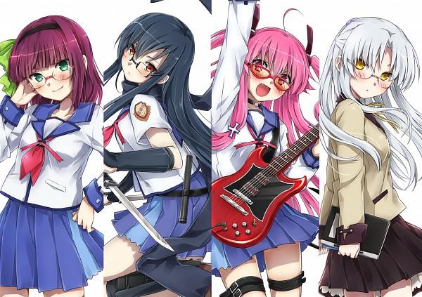 Tags: Anime, Natsu Natsuna, Angel Beats!, Yui (Angel Beats!), Tachibana Kanade, Nakamura Yuri, Shiina Eri, Electric Guitar, Pixiv, Fanart, Fanart From Pixiv, PNG Conversion