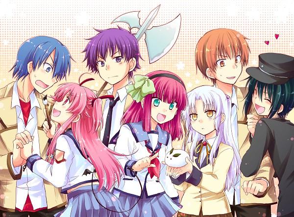 Tags: Anime, Kousetsu, Angel Beats!, Naoi Ayato, Nakamura Yuri, Noda (Angel Beats!), Yui (Angel Beats!), Tachibana Kanade, Otonashi Yuzuru, Hinata Hideki, Fanart From Pixiv, PNG Conversion, Pixiv