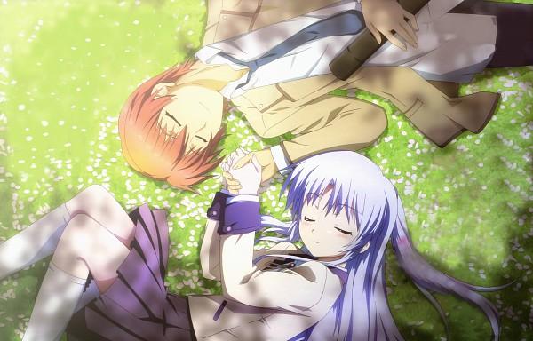 Tags: Anime, P.A. Works, Angel Beats!, Otonashi Yuzuru, Tachibana Kanade, Laying in Circle, Wallpaper, Detexted, Official Art
