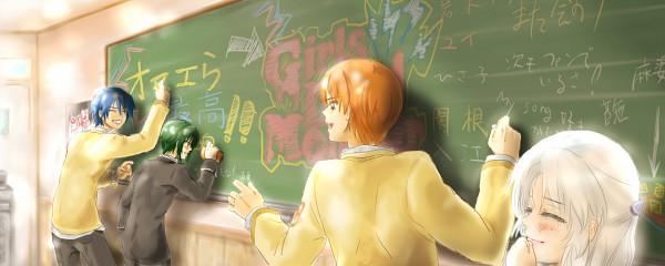 Tags: Anime, Pixiv Id 389588, Angel Beats!, Naoi Ayato, Tachibana Kanade, Hinata Hideki, Otonashi Yuzuru, Chalkboard, Pixiv, Facebook Cover, Translation Request