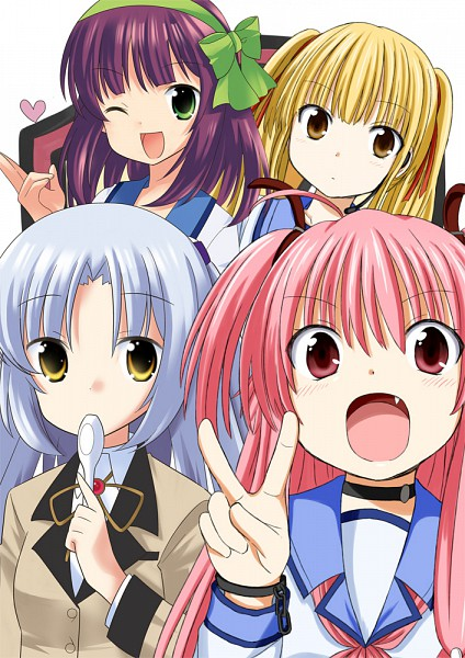 Tags: Anime, Raryuu, Angel Beats!, Tachibana Kanade, Nakamura Yuri, Yusa (Angel Beats!), Yui (Angel Beats!), Mobile Wallpaper