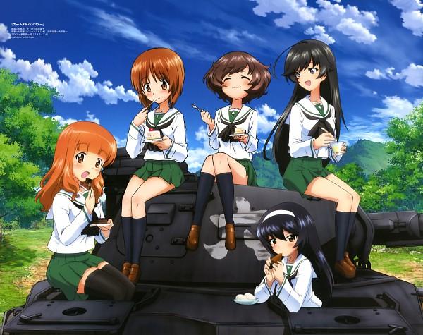 Tags: Anime, Sugimoto Isao, Actas, GIRLS und PANZER, Akiyama Yukari, Isuzu Hana, Takebe Saori, Nishizumi Miho, Reizei Mako, Tank, Official Art, Scan, Anglerfish Team