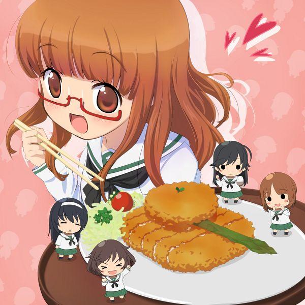 Tags: Anime, Pixiv Id 22806, GIRLS und PANZER, Takebe Saori, Nishizumi Miho, Reizei Mako, Akiyama Yukari, Isuzu Hana, Fanart, Anglerfish Team