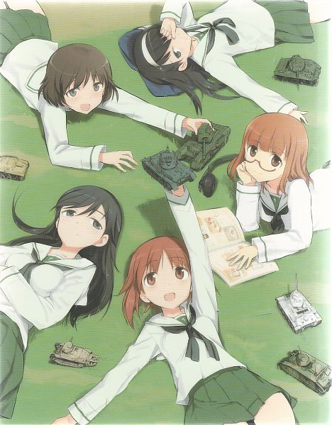 Tags: Anime, Shimada Humikane, GIRLS und PANZER, Akiyama Yukari, Isuzu Hana, Takebe Saori, Nishizumi Miho, Reizei Mako, Official Art, Scan, Anglerfish Team