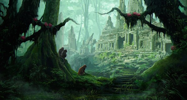 Tags: Anime, Anna Razvadovskaya, Swamp, Lily Pads, Moss, Overgrown, ArtStation, Facebook Cover, Original, Razvadovskaya Anna
