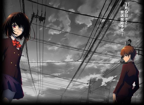 Tags: Anime, Another, Misaki Mei, Sakakibara Kouichi, Official Art