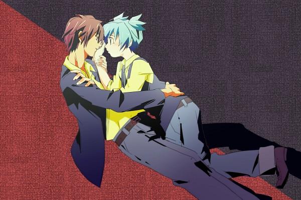 Tags: Anime, Pixiv Id 754025, Ansatsu Kyoushitsu, Akabane Karma, Shiota Nagisa, Holding Wrist, Pixiv, Wallpaper, Fanart, Assassination Classroom
