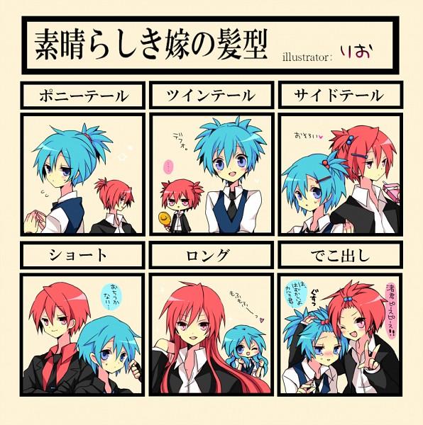 Tags: Anime, Momiji5zen, Ansatsu Kyoushitsu, Akabane Karma, Shiota Nagisa, Wonderful Wife Hair, Shihaisha No Jikan, Pixiv, Fanart, Assassination Classroom