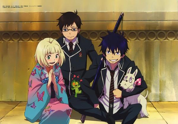 Tags: Anime, A-1 Pictures, Ao no Exorcist, Mephisto Pheles (Dog), Ni, Okumura Yukio, Moriyama Shiemi, Okumura Rin, Mephisto Pheles, Official Art, Scan, Blue Exorcist