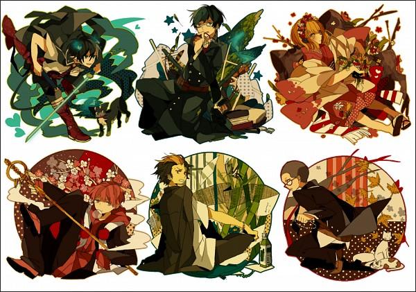Tags: Anime, Akina422, Ao no Exorcist, Suguro Ryuji, Ni, Miwa Konekomaru, Moriyama Shiemi, Kuro (Ao no Exorcist), Okumura Yukio, Shima Renzou, Okumura Rin, Shakujou, PNG Conversion, Blue Exorcist