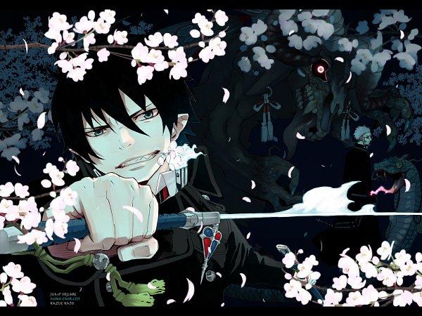 Tags: Anime, Katou Kazue, Ao no Exorcist, Okumura Rin, Fujimoto Shirou, Reptile, Wallpaper, Official Art, Official Wallpaper, Blue Exorcist