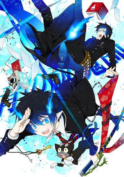 Tags: Anime, Yuuno (Yukioka), Ao no Exorcist, Kuro (Ao no Exorcist), Okumura Yukio, Okumura Rin, Mobile Wallpaper, Pixiv, Fanart, Blue Exorcist