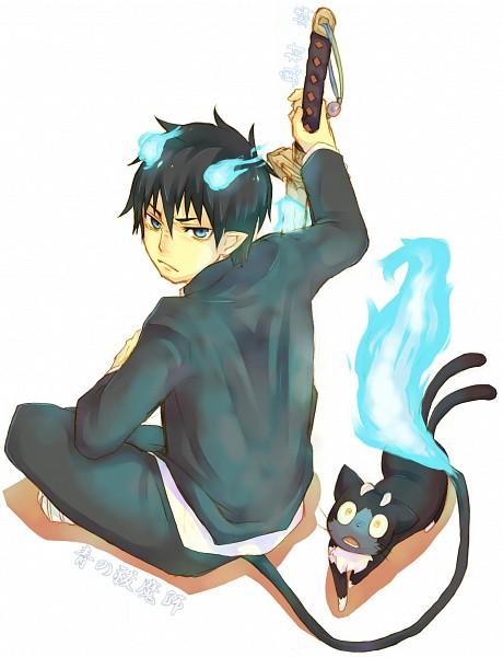 Tags: Anime, Pixiv Id 1645308, Ao no Exorcist, Okumura Rin, Kuro (Ao no Exorcist), Pixiv, Blue Exorcist