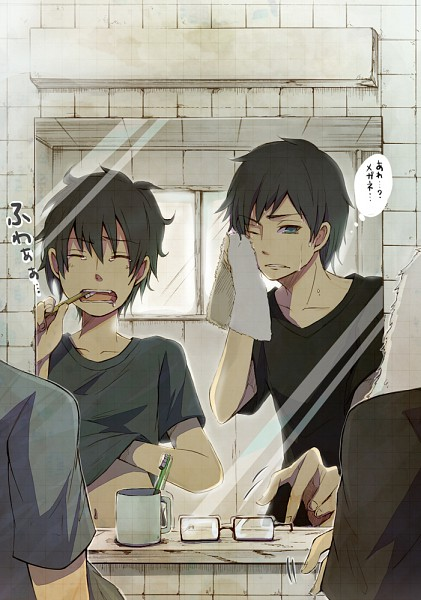 Tags: Anime, Pixiv Id 1177786, Ao no Exorcist, Okumura Yukio, Okumura Rin, Toothbrush, Toothbrushing, Morning, Fanart, Mobile Wallpaper, Pixiv, Blue Exorcist