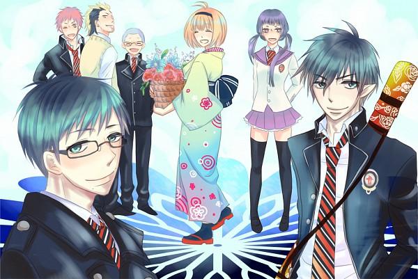 Tags: Anime, Pixiv Id 1167459, Ao no Exorcist, Suguro Ryuji, Miwa Konekomaru, Moriyama Shiemi, Kamiki Izumo, Okumura Yukio, Shima Renzou, Okumura Rin, Pixiv, Blue Exorcist