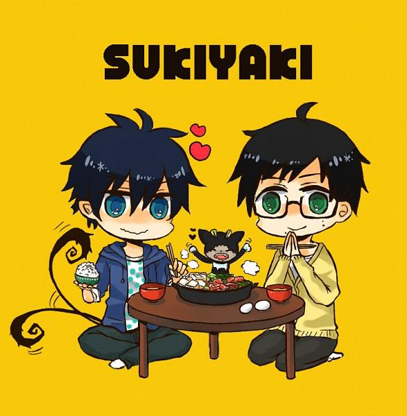 Tags: Anime, Pixiv Id 2631760, Ao no Exorcist, Kuro (Ao no Exorcist), Okumura Yukio, Okumura Rin, Blue Exorcist