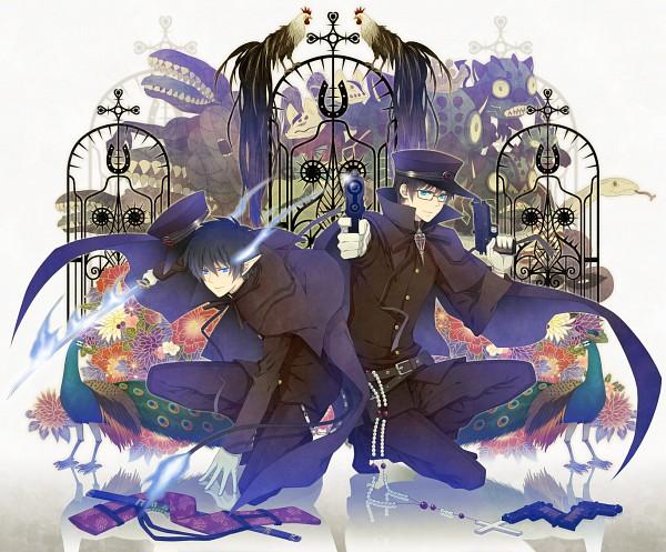 Tags: Anime, Yuuno (Yukioka), Ao no Exorcist, Okumura Yukio, Okumura Rin, Aiming At Camera, Peacock, Chicken, Pixiv, Fanart, Blue Exorcist