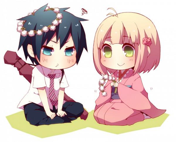 Tags: Anime, Niwako, Ao no Exorcist, Moriyama Shiemi, Okumura Rin, Pixiv, Fanart, Blue Exorcist