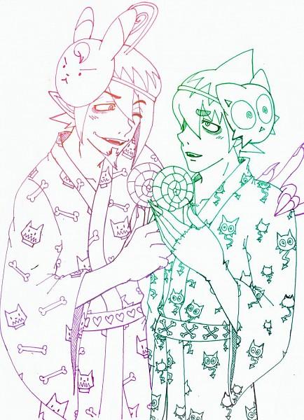 Tags: Anime, Ao no Exorcist, Amaimon, Mephisto Pheles, Line Art, Blue Exorcist