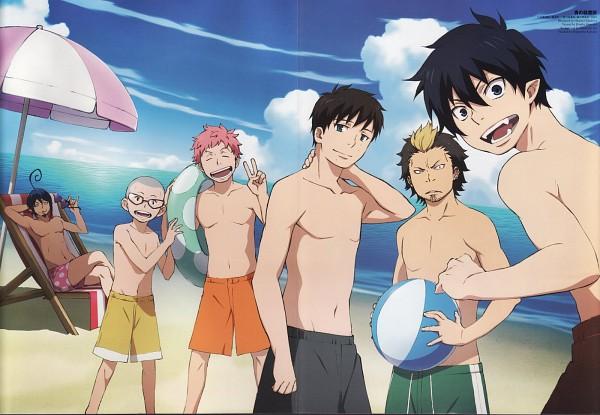Tags: Anime, A-1 Pictures, Ao no Exorcist, Okumura Rin, Miwa Konekomaru, Mephisto Pheles, Shima Renzou, Okumura Yukio, Suguro Ryuji, Beach Chair, Official Art, Scan, Blue Exorcist