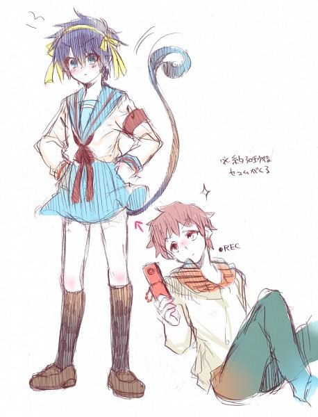 Tags: Anime, Shiroto (Pixiv1781512), Ao no Exorcist, Suzumiya Haruhi no Yuuutsu, Shima Renzou, Okumura Rin, Suzumiya Haruhi (Cosplay), Peeking, Blue Exorcist