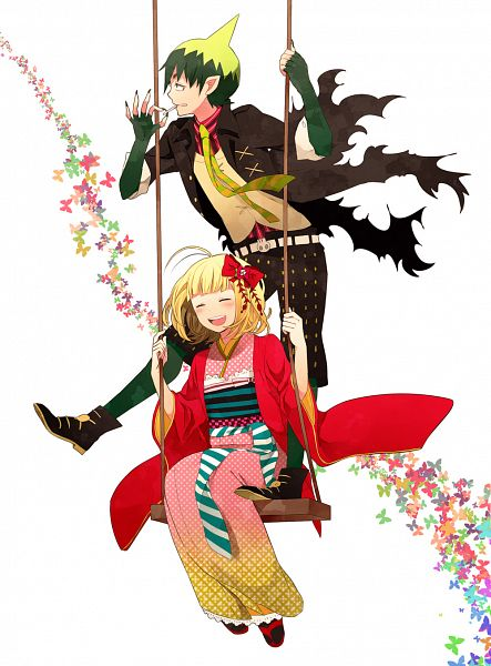 Tags: Anime, Ono (0 No), Ao no Exorcist, Moriyama Shiemi, Amaimon, Swing, Pixiv, Fanart, Blue Exorcist