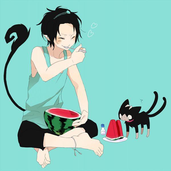 Tags: Anime, Zakka, Ao no Exorcist, Okumura Rin, Kuro (Ao no Exorcist), Fanart, PNG Conversion, Pixiv, Blue Exorcist