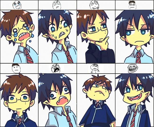 Tags: Anime, Pixiv Id 838295, Ao no Exorcist, Okumura Rin, Okumura Yukio, >:D, D:<, Troll Face, Rage Comics, Blue Exorcist