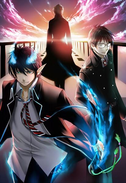 Tags: Anime, KzcJimmy, Ao no Exorcist, Fujimoto Shirou, Okumura Yukio, Okumura Rin, Pixiv, Fanart, Mobile Wallpaper, Blue Exorcist