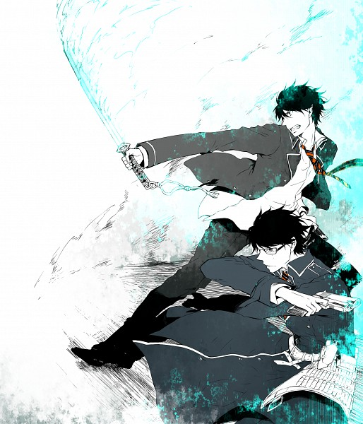 Tags: Anime, Pixiv Id 3120950, Ao no Exorcist, Okumura Rin, Okumura Yukio, Pixiv, PNG Conversion, Fanart, Blue Exorcist