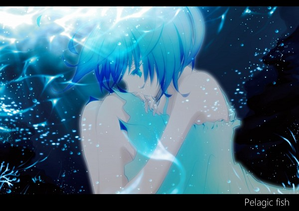 Tags: Anime, Aonoe, VOCALOID, Aoki Lapis, Sitting In Water, Pelagic Fish (Song)