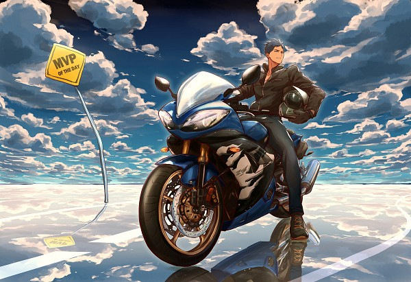 Tags: Anime, Zawar, Kuroko no Basuke, Aomine Daiki, Sign Board, Motorcycle Helmet, Leather Clothes, Leather Jacket, Pixiv