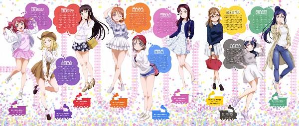 Tags: Anime, Love Live! Sunshine!!, Takami Chika, Watanabe You, Kurosawa Ruby, Kurosawa Dia, Ohara Mari, Matsuura Kanan, Kunikida Hanamaru, Sakurauchi Riko, Tsushima Yoshiko, Brown Headwear, Scan