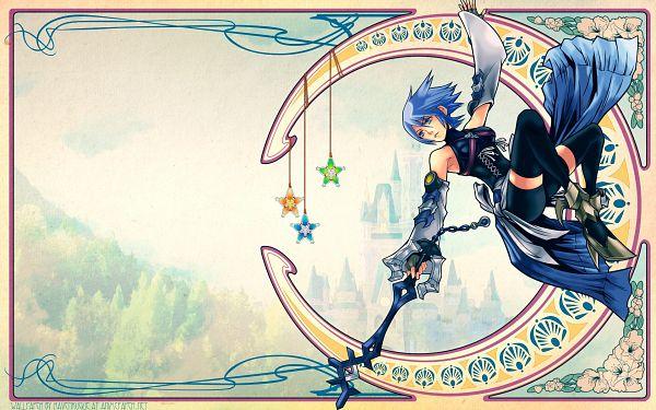 Tags: Anime, Kingdom Hearts: Birth by Sleep, Kingdom Hearts, Aqua (Kingdom Hearts), Art Nouveau, Wegfinder, Hanging Star, Wallpaper