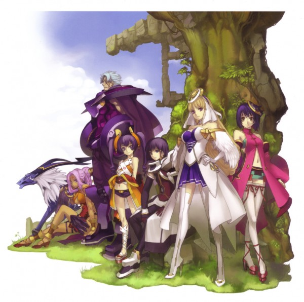 Tags: Anime, Ar Tonelico II, Ar Tonelico, Croix Bartel, Cocona Vatel, Chroche Latel Pastalie, Luca Truelywaath, Crossed Legs (Standing), Official Art