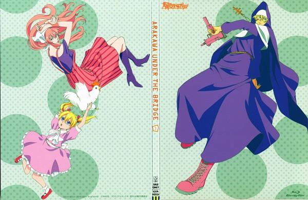 Tags: Anime, Shaft (Studio), Arakawa Under the Bridge, Stella (Arakawa), Maria (Arakawa), Sister (Arakawa), Chicken, Official Art, Scan, DVD (Source)