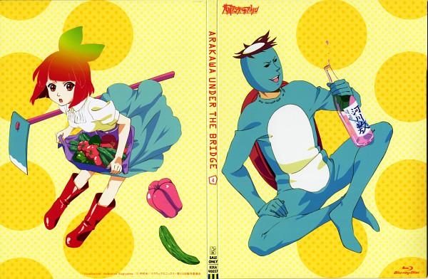 Tags: Anime, Shaft (Studio), Arakawa Under the Bridge, Kappa (Arakawa), P-ko, Kappa, Official Art, Scan, DVD (Source)