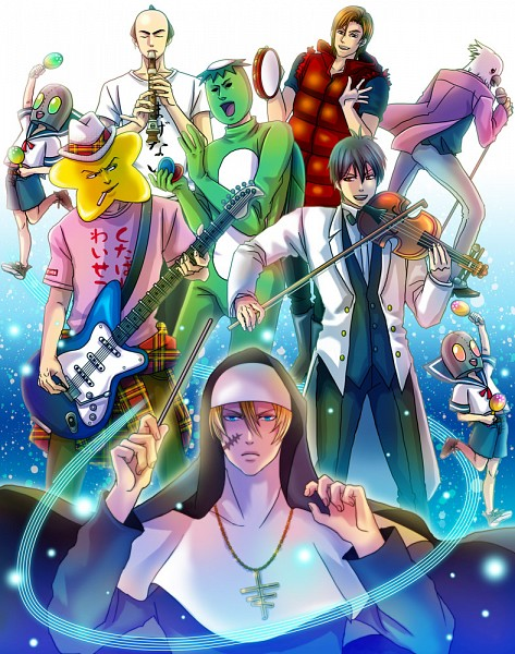 Tags: Anime, Eriyama, Arakawa Under the Bridge, Hoshi, Last Samurai, Kou Ichinomiya, Shiro (Arakawa), Maria (Arakawa), Kappa (Arakawa), Sister (Arakawa), Billy (Arakawa), Playing Violin, Kappa