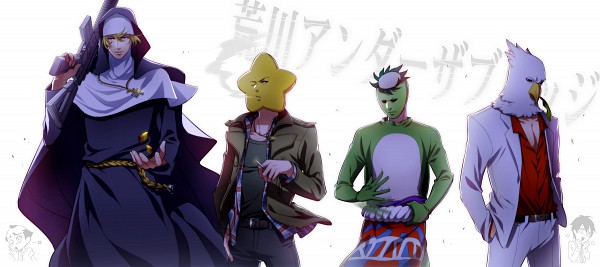 Tags: Anime, Red Lian, Arakawa Under the Bridge, Kappa (Arakawa), Billy (Arakawa), Sister (Arakawa), Hoshi, Kappa, Facebook Cover, Pixiv, Fanart