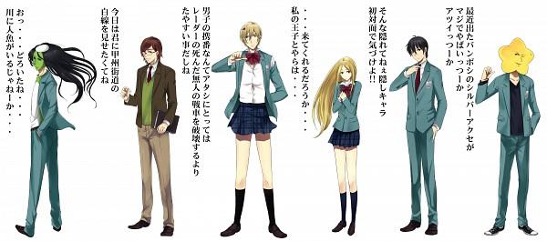 Tags: Anime, Harimoji, Arakawa Under the Bridge, Nino (Arakawa), Sister (Arakawa), Hoshi, Shiro (Arakawa), Kou Ichinomiya, Thumbs Down, Thumbs Up, Kappa, Adjusting Tie, Fanart