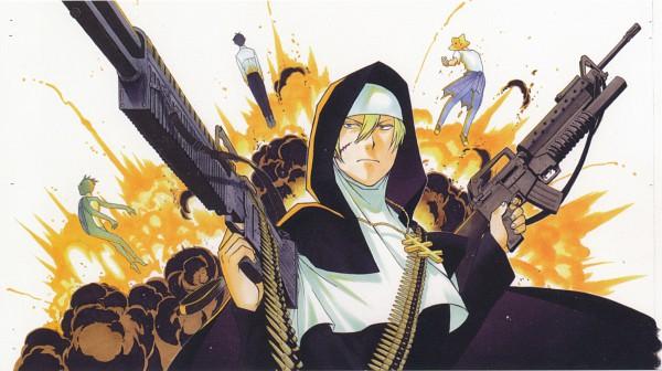Tags: Anime, Arakawa Hiromu, Arakawa Under the Bridge, Kou Ichinomiya, Kappa (Arakawa), Sister (Arakawa), Hoshi, Explosion, Kappa, Wallpaper, Scan, Facebook Cover